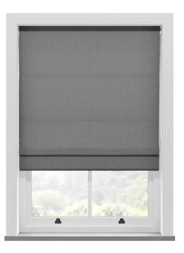 Roman Blinds Santiago Cotton Steel Grey