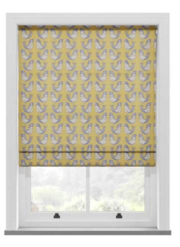 Roman Blinds Scandi Birds Mustard