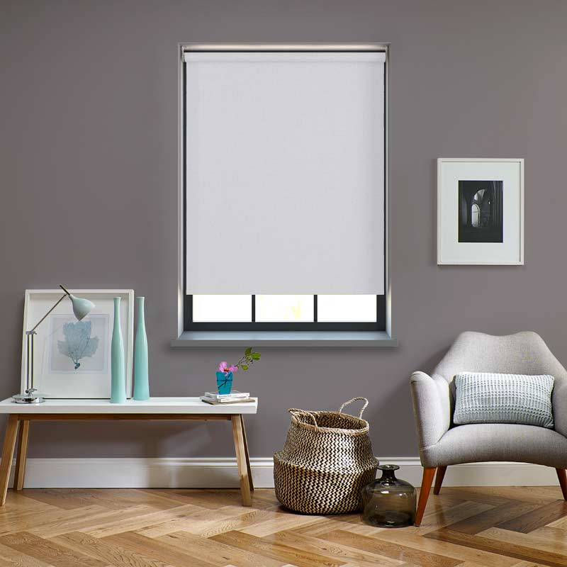 Electric Roller Blinds Oslo Blackout Frost White
