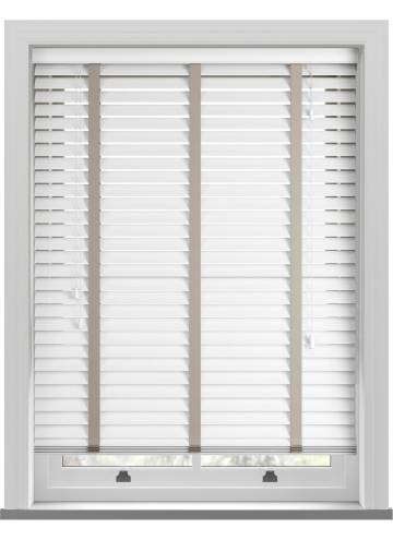 Wooden Blinds Deco Taped True White with Contrast Dove Grey Tape