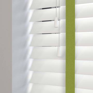 Wooden Blinds Deco Taped True White with Contrast Envy Tape