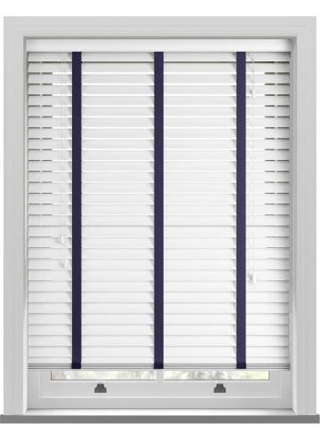 Wooden Blinds Deco Taped True White with Contrast Icon Tape