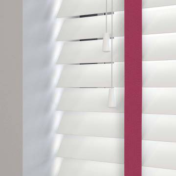 Wooden Blinds Deco Taped True White with Contrast Lulu Tape