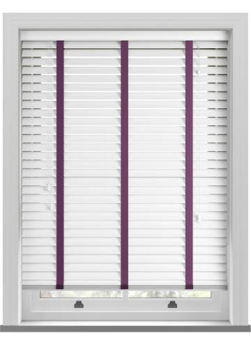 Wooden Blinds Deco Taped True white with Contrast Poison Tape