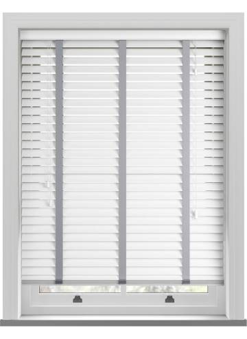 Wooden Blinds Deco Taped True white with Contrast Steel Grey Tape