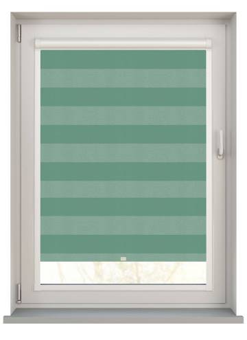 Perfect Fit Roller Blinds Midas Stripe Blackout Aqua Green