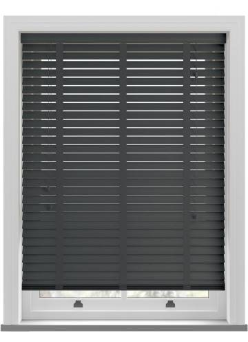 Wooden Blinds Nile Taped Charcoal Grey