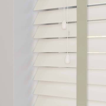 Wooden Blinds Nile Taped Pearl White with Contrast Ecru Tape
