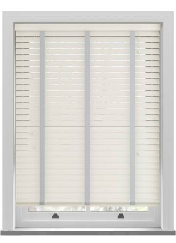 Wooden Blinds Nile Taped Pearl White with Contrast Slate Tape