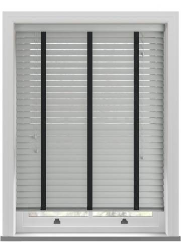 Wooden Blinds Nile Taped Slate Grey with Contrast Ebony Tape