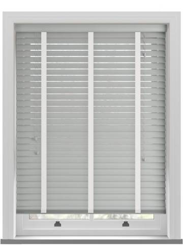Wooden Blinds Nile Taped Slate Grey with Contrast White Tape