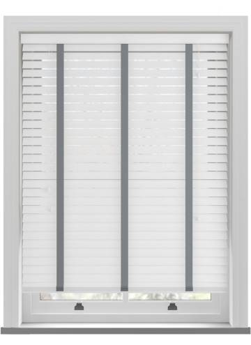 Wooden Blinds Nile Taped White with Contrast Dark Grey Tape