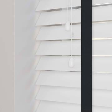 Wooden Blinds Nile Taped White with Contrast Ebony Tape