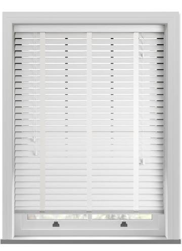 Wooden Blinds Premier Taped Grained Bright White