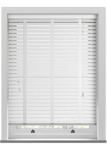 Wooden Blinds Zambezi Taped Pure White