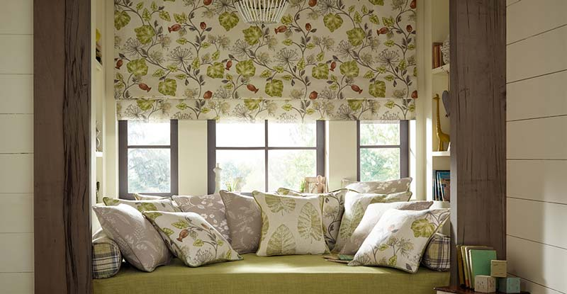 Floral roman blind in a living room blind