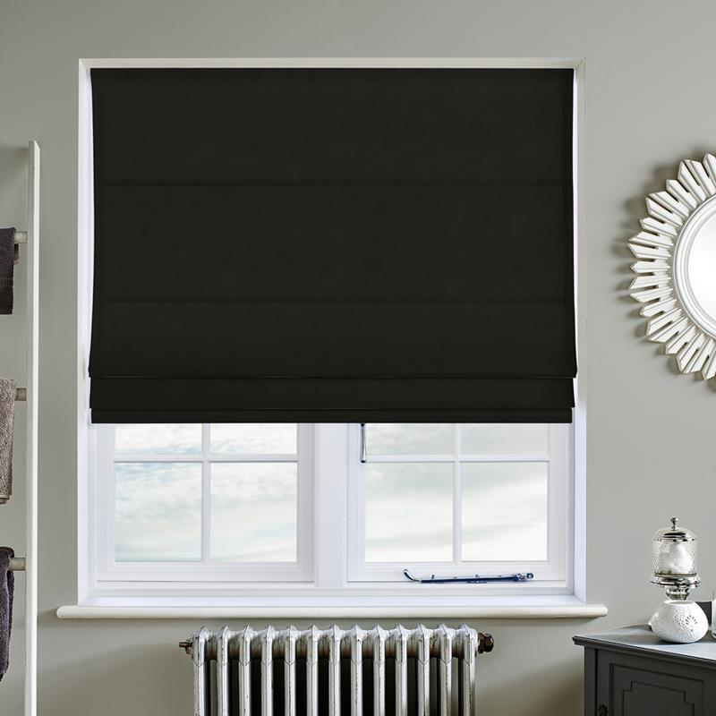 Faux Suede Deluxe Black Roman Blind Direct Blinds