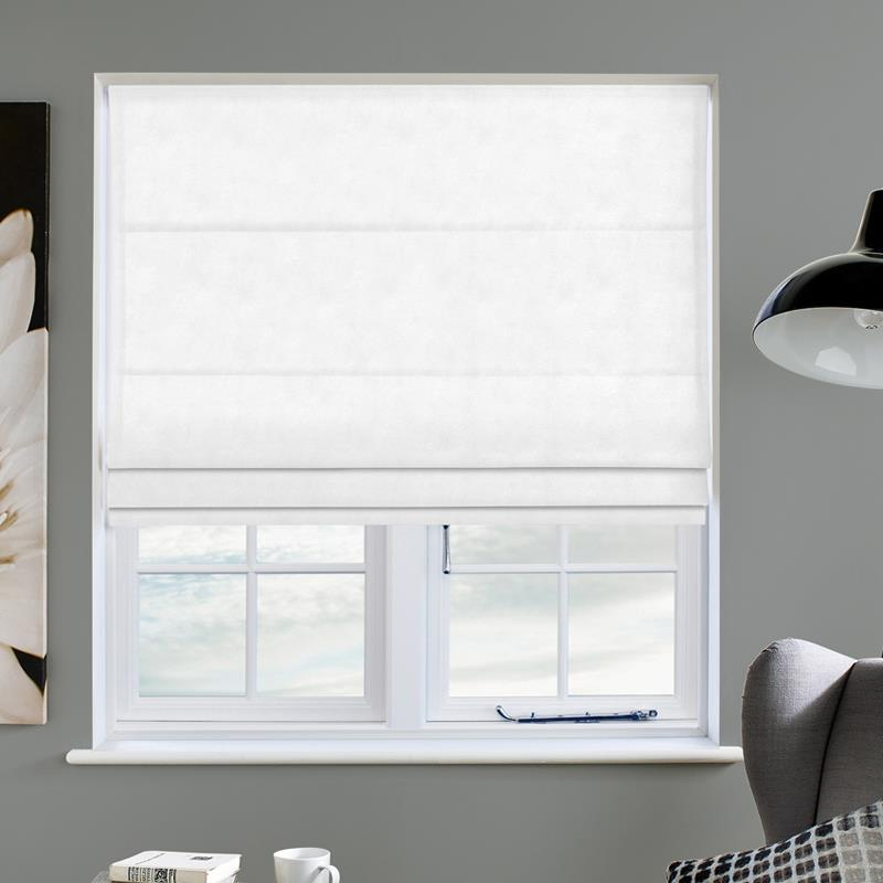 Faux Suede White Roman Blind Swift Direct Blinds