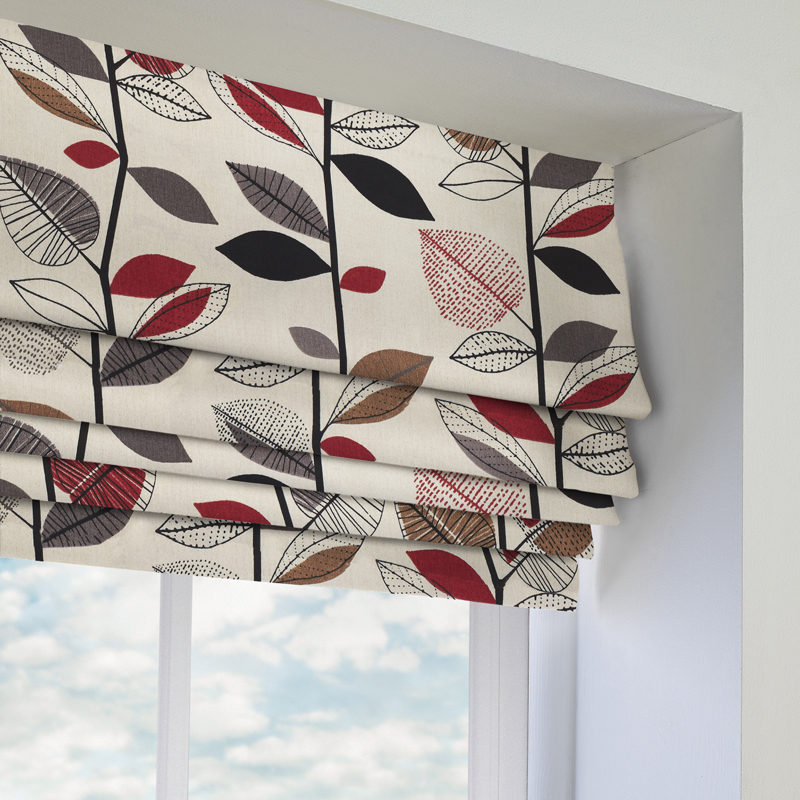Autumn Leaves Red Berry Roman Blind Direct Blinds
