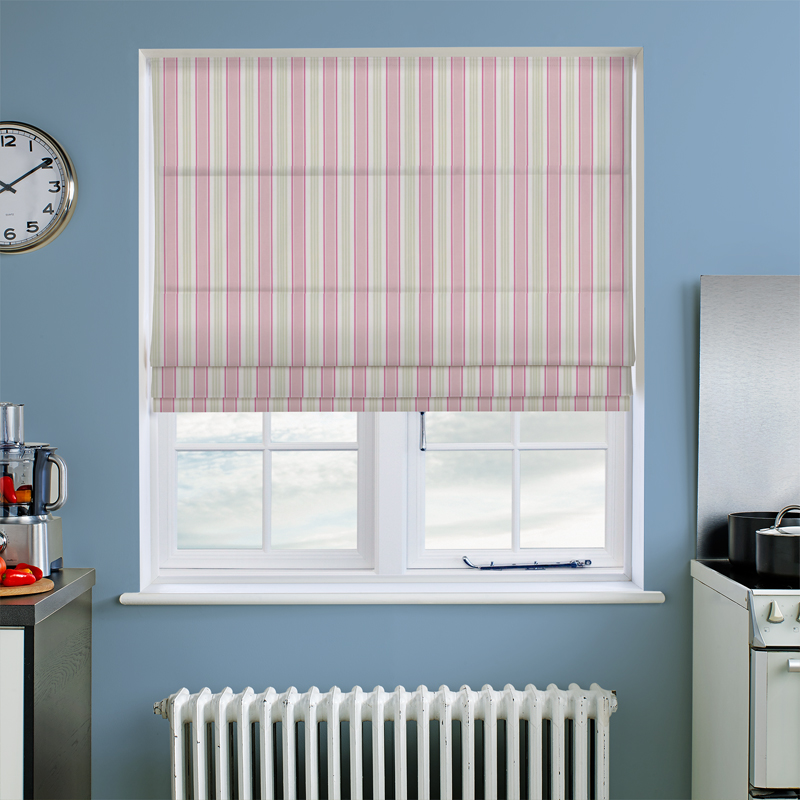 Deckchair Stripe Sage Roman Blind Direct Blinds