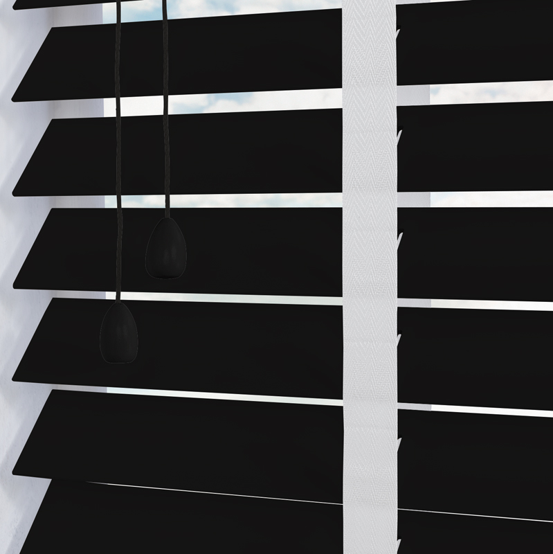 black wooden blinds. Nile Contrast 50mm Taped Ebony With White Tape Black Wooden Blinds